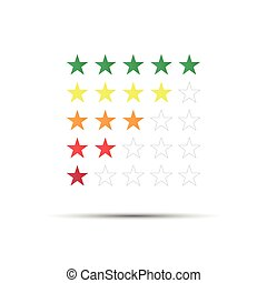 Set of red, orange, yellow and green rating stars isolated on white background, vector illustration