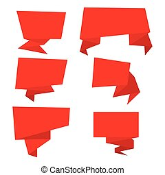 Set of red paper banners.