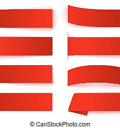 Set of red paper ribbon banners with realistic shadows on white background