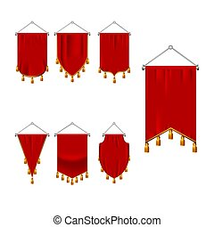 set of red pennant with golden fringe. 3d realistic textile flag, heraldic blank pennant. Award advertising empty banners hanging wall