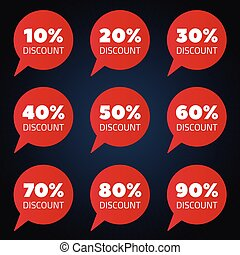 Set of red percent discount speech bubble, sale vector illustration on black vackground