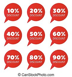 Set of red percent discount speech bubble, sale vector illustration