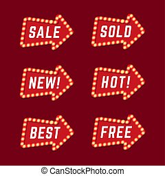 Set of red promotional arrow sign retro style with lamps.