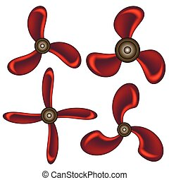 Set of Red Propeller Icons