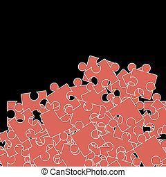 Set of Red Puzzle. Jigsaw Pattern