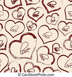 set of red retro love heart grunge seamless pattern eps10