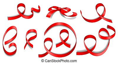 Set of red ribbons and bow with different swirls on transparent background.