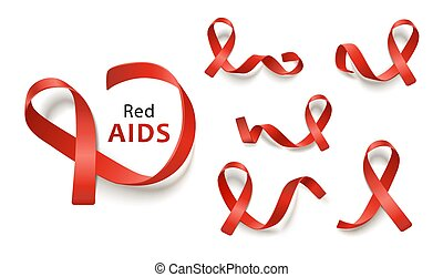 Set of red ribbons for leukemia and aids awareness charities...