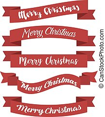 Set of red ribbons for Merry Christmas. Vector illustration