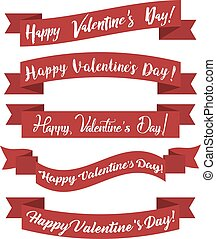 Set of red ribbons happy Valentine's Day. Vector illustration