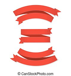 Set of red ribbons on white background
