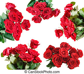 set of red rose bouquets isolated on white