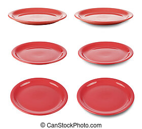 Set of red round plates or dishes isloated on white with clipping path included