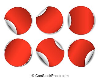 Set of red round promotional stickers.