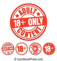 Set Of Red Round Stamps Adults Only. Grungy Icons Age 18 Limit. Isolated On White Background. Vector Illustration.