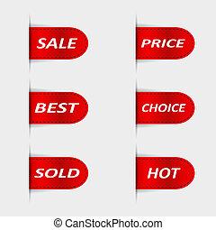 Set of red sales labels