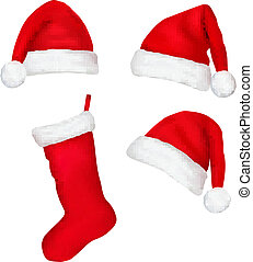 Set of red santa hats and boot. Vector.