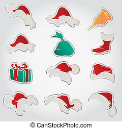 set of red santa hats and clothing