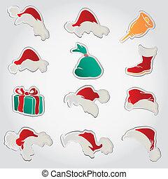 set of red santa hats and clothing