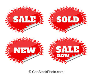 Set of red seals stickers with sale text