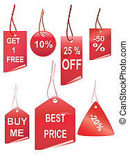 Set of red shopping tags