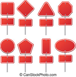 set of red signs