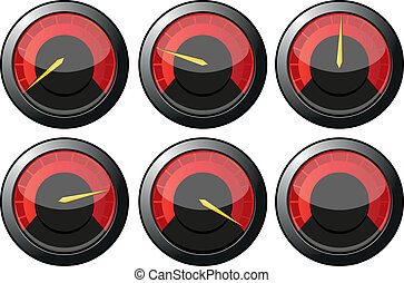 Set of red speedometers for car or power or termometers,...