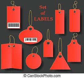 Set of red tags with Golden rope. Collection of labels of various shapes on a black background.