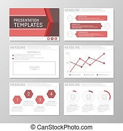 Set of red template for multipurpose presentation slides with graphs and charts. Leaflet, annual report, book cover design.