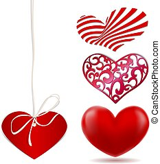 Set of red various abstract hearts
