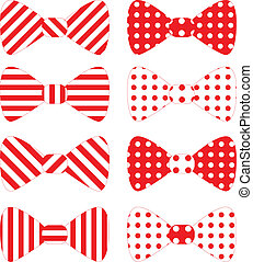 Set of red vector bow ties over white background