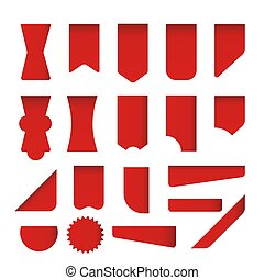 Set of red vector labels, stickers, corners