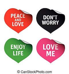Set of red vector stickers Love me, Don't Worry, Peace and Love, Enjoy Life