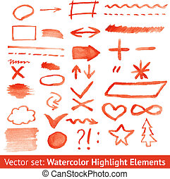 Set of red watercolor highlight elements. Vector...