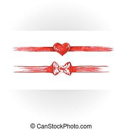 Set of red watercolor ribbons, bows, hearts.