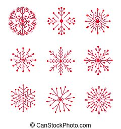 Set of red winter snowflakes on a white background.