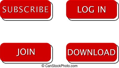 Set of red with frame square buttons for web, social networks. Subscribe, download, log in and join button isolated on white background. Vector.