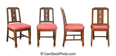 set of red wooden chair isolated on white background
