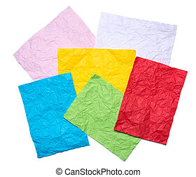 Set of red, yellow, blue, green, pink, white crumpled sheet of paper.
