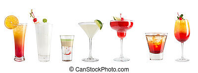 Set of refreshing cocktails on a white background. Isolated.