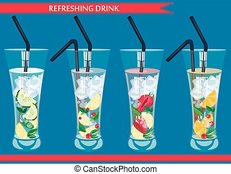 Set of refreshing drinks vector illustration.