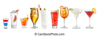 Set of refreshing popular cocktails on a white background. Isolated.
