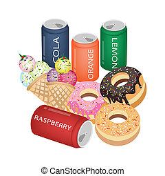 Set of Refreshing Soda Drinks and Sweet Food