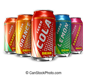 Set of refreshing soda drinks in metal cans *** Design of...