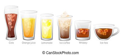 Set of refreshing tasty drinks with ice.