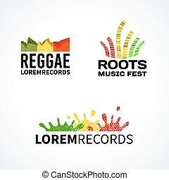 Set of reggae music equalizer logo emblem vector elements