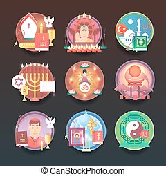 Set of religion icons. Religions and confessions...