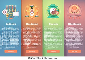 Set of religion vector flat banners. Religions and...