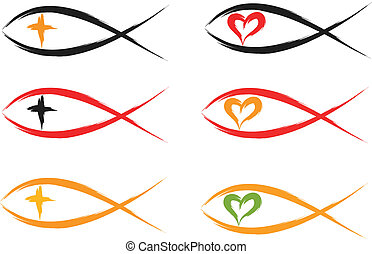 christian fish - set of religious christian fish symbols