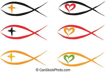 christian fish  - set of religious christian fish symbols